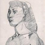 女子一 26cm x 23cm 纸本手绘 铅笔 1994年_副本