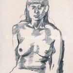 女子三 26cm x 23cm  纸本手绘 铅笔 1994年_副本