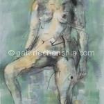 22女子 木炭、水性色、宣纸 77×48cm 2007年_副本