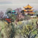 Bai Tongxu 白统绪, Yueyang Tower 岳阳楼,Watercolor on Paper 纸本水彩,38.6 x 54.1 cm, 1982_副本