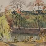 Bai Tongxu 白统绪,Corner of Wuhan University 武大校园一角,Watercolor on Paper 纸本水彩,19.3 x 27 cm, 1956_副本