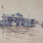 Bai Tongxu 白统绪,Ferry Terminal of Wuchang 武昌轮渡码头,Watercolor on Paper 纸本水彩,37.3 x 26.2 cm, 1960_副本