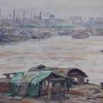 Bai Tongxu 白统绪,Han River Scenery 汉水风光,Watercolor on Paper 纸本水彩,33 x 53.8 cm, 1963_副本