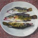 Bai Tongxu 白统绪,Honghu Mandarin Fish 洪湖鳜鱼,Watercolor on Paper 纸本水彩,38.5 x 83 cm, 1999_副本