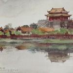 Bai Tongxu 白统绪,Life Painting Ancient Pavilion Garden 龙亭公园速写,Watercolor on Paper 纸本水彩,31.2 x 43 cm,1983_副本