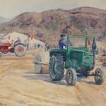 Bai Tongxu 白统绪,Mingshan Reservior Consturction Site 明山工地上,Watercolor on Paper 纸本水彩,28.9 x 37.4 cm, 1959_副本