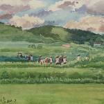 Bai Tongxu 白统绪,Summer 夏天,Watercolor on Paper 纸本水彩,18.6 x 14.3 cm, 1960_副本