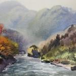 Bai Tongxu 白统绪,Suwa Gorge in Qunma Prefecture 群马县诹访峡,Watercolor on Paper 纸本水彩,38.1 x 52.6 cm, 1991_副本