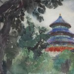 Bai Tongxu 白统绪,Temple of Heaven 天坛,Watercolor on Paper 纸本水彩,40 x 54 cm, 1988_副本
