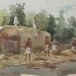 Bai Tongxu 白统绪,The Thrashing Field 打麦场上,Watercolor on Paper 纸本水彩,18.8 x 29.1 cm, 1957_副本