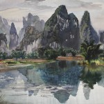 Bai Tongxu 白统绪,Yangshuo Landscape 阳朔山水甲桂林,Watercolor on Paper 纸本水彩,39.4 x 54.2 cm, 1982_副本
