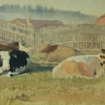 Bai Tongxu 白统绪  Cattle Farm on Campus II  校园里的养牛场二    Watercolor on Paper  纸本水彩   1956年   25.2 x 18.6 cm_副本