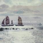 Bai Tongxu  白统绪  Direct light from the Sea  逆光的海    Watercolor on Paper  纸本水彩   1962年   18.8 x 29 cm_副本