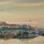Bai Tongxu  白统绪  Dusk at Jiujiang  九江晚照    Watercolor on Paper  纸本水彩    1963年   19 x 26.8 cm_副本