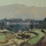 Bai Tongxu  白统绪  Dusk at Yingshan  英山晚照      Watercolor on Paper  纸本水彩    1962年   26.3 x 38.4 cm_副本