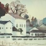 Bai Tongxu  白统绪  Early Morning of  Foshan  佛山晨光   Watercolor on Paper  纸本水彩     1980年   40 x 54 cm_副本