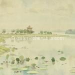 Bai Tongxu  白统绪  East Lake Scenery  东湖小景  Watercolor on Paper  纸本水彩    1958年   17.5 x 26.4 cm_副本