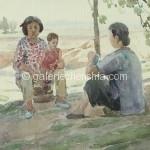 Bai Tongxu  白统绪  Homesick  乡情     Watercolor on Paper  纸本水彩   1957年   19 x 29.5 cm_副本