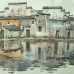 Bai Tongxu  白统绪 Hongcun Moon Lake  宏村月湖    Watercolor on Paper  纸本水彩    1992年   39.4 x 55.4 cm_副本