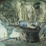 Bai Tongxu  白统绪  Huanzhu Cave in Fuboshan, Guilin  桂林洑波山还珠洞  Watercolor on Paper  纸本水彩      1982年   39.4 x 54 cm_副本