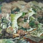 Bai Tongxu  白统绪  Mills in Jiuzhai  九寨磨坊     Watercolor on Paper  纸本水彩   1984年   39.2 x 54.4 cm_副本