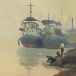 Bai Tongxu  白统绪  Morning Mist at Han River  汉水晨雾   Watercolor on Paper  纸本水彩    1961年   19.5 x 27 cm_副本