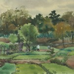 Bai Tongxu  白统绪  Naozhou Countryside  硇洲田园     Watercolor on Paper  纸本水彩   1961年   19.4 x 27 cm_副本