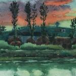 Bai Tongxu  白统绪  Riverbank  河畔    Watercolor on Paper  纸本水彩    1960年   19.1 x 14.7 cm_副本
