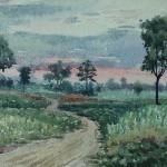Bai Tongxu  白统绪  Sesame Field at Bailou  白楼的芝麻地  Watercolor on Paper  纸本水彩  1957年   26.7 x 19.5 cm_副本