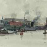 Bai Tongxu  白统绪  Shanghai Suburbs  上海之郊    Watercolor on Paper  纸本水彩   1963年   16.5 x 20.7 cm_副本