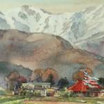 Bai Tongxu  白统绪  Shangmu Scenery  上牧风光    Watercolor on Paper  纸本水彩    1991年   37.8 x 52.7 cm_副本