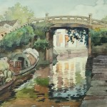 Bai Tongxu  白统绪  Shaoxing Bazi Bridge  绍兴八字桥    Watercolor on Paper  纸本水彩   1994年   39.5 x 54.5 cm_副本