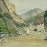 Bai Tongxu  白统绪  Sketch at Xiling Gorge II  西陵峡速写之二   Watercolor on Paper  纸本水彩    1961年   14.5 x 19 cm_副本