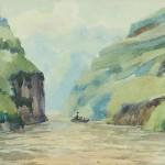 Bai Tongxu  白统绪  Sketch at Xiling Gorge III  西陵峡速写之三    Watercolor on Paper  纸本水彩   1961年   14.5 x 19 cm_副本