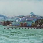 Bai Tongxu  白统绪  Summer of Luojiashan  珞珈山之夏    Watercolor on Paper  纸本水彩   1980年   27.2 x 39.4 cm_副本