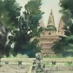 Bai Tongxu  白统绪  The Corner of a Beijing Temple  北京寺庙一角  Watercolor on Paper  纸本水彩  1988年   54.5 x 39.6 cm_副本