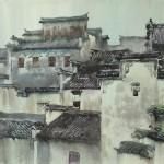 Bai Tongxu  白统绪  The Rain of Hongcun  宏村雨意    Watercolor on Paper   纸本水彩   1992年   39.8 x 54.5 cm_副本