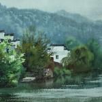 Bai Tongxu  白统绪  Wuyuan Scenery  婺源小景     Watercolor on Paper  纸本水彩    2003年   26.3 x 39.7 cm_副本