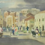 Bai Tongxu  白统绪  Zhanjiang Street  湛江街头    Watercolor on Paper  纸本水彩 1961年   23 x 39 cm_副本