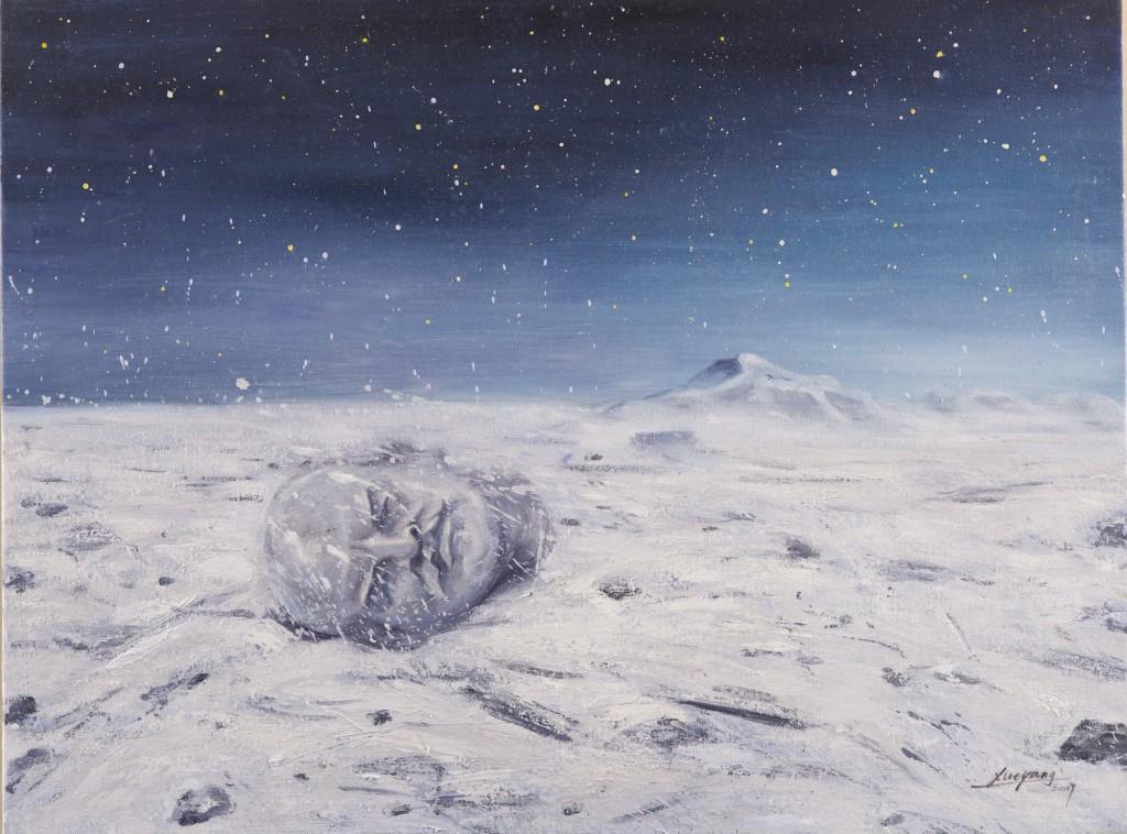 《那些被雪藏起来的秘密》,布上油画,60X80cm ,薛扬,2017年